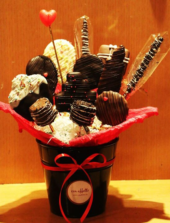 One of our edible bouquets is the cookie bouquet with an assortment of cookies, pretzels, marshmallows