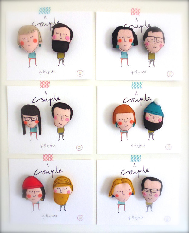 One of our funky Christmas gift ideas for couples, personalized couples magnets