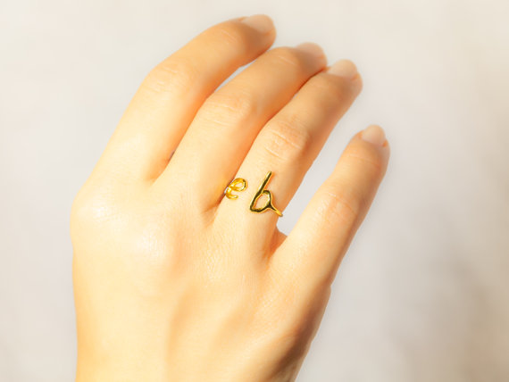 Funky gift ideas for her! A personalized initial ring in sterling silver, rose filled gold or gold