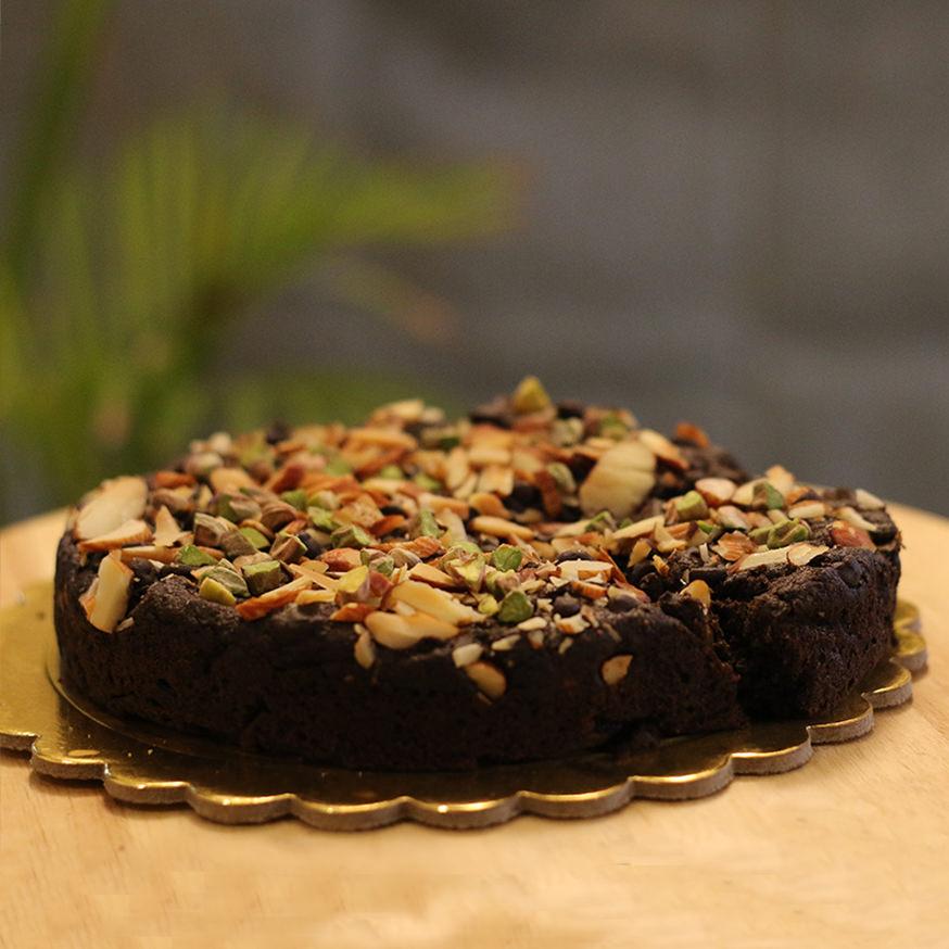 Healthy Cakes - Dark Chocolate Pistachio Bottle Gourd Cake