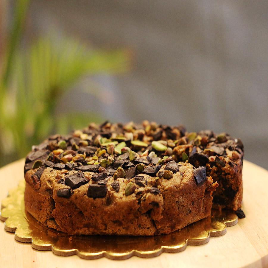 Healthy Cakes - Roasted Almond Pistachio Bottle Gourd Cake