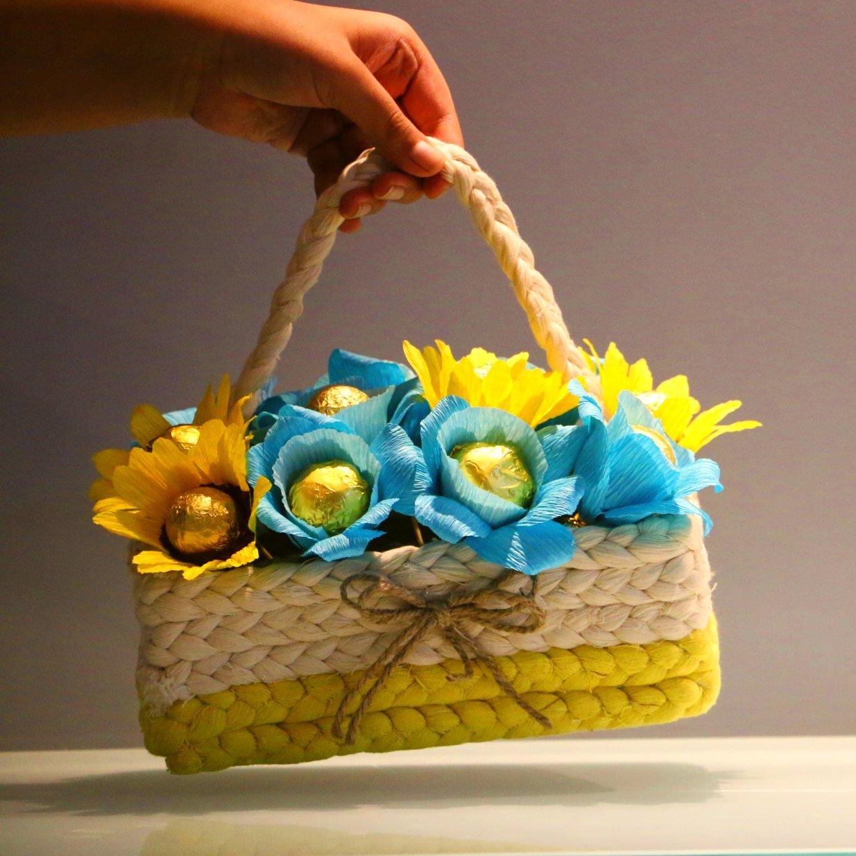 Birthday Gifts - Basketful - Blue and Yellow
